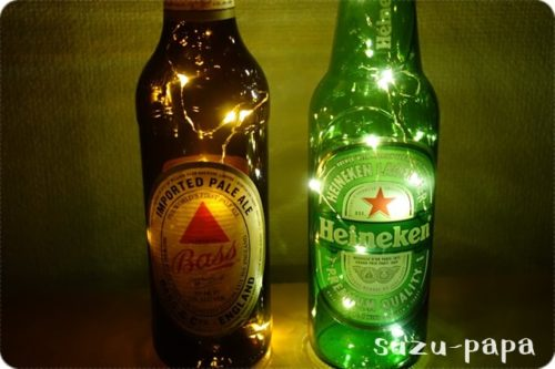 ジュエリーライト+ビール瓶