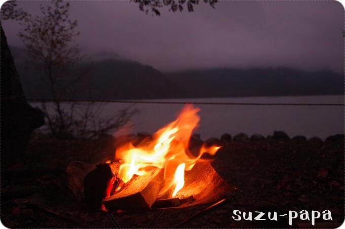 菖蒲ヶ浜キャンプ場 夜焚き火