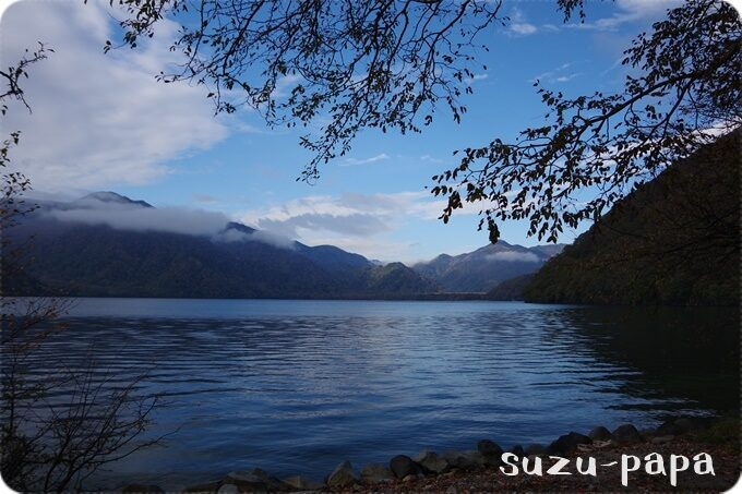 菖蒲ヶ浜キャンプ場より中禅寺湖を望む