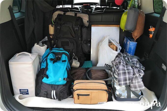 日光湯元キャンプ場 荷物