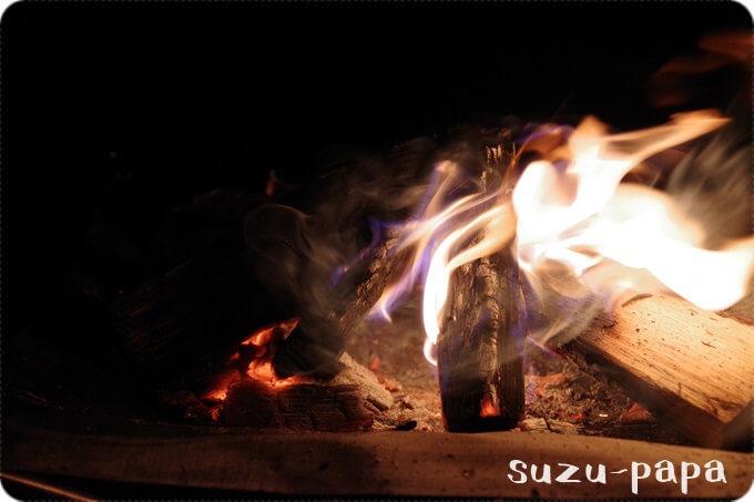 日光湯元キャンプ場 焚火