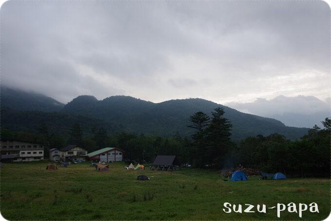 湯元キャンプ場 曇りの日の風景