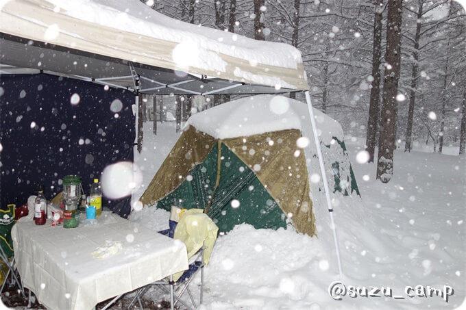初の雪中キャンプ