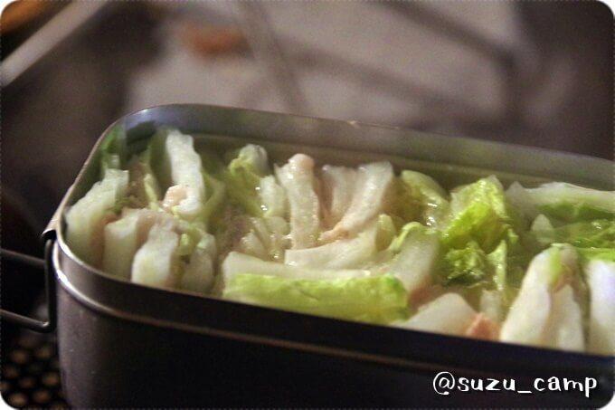 メスティン白菜鍋完成