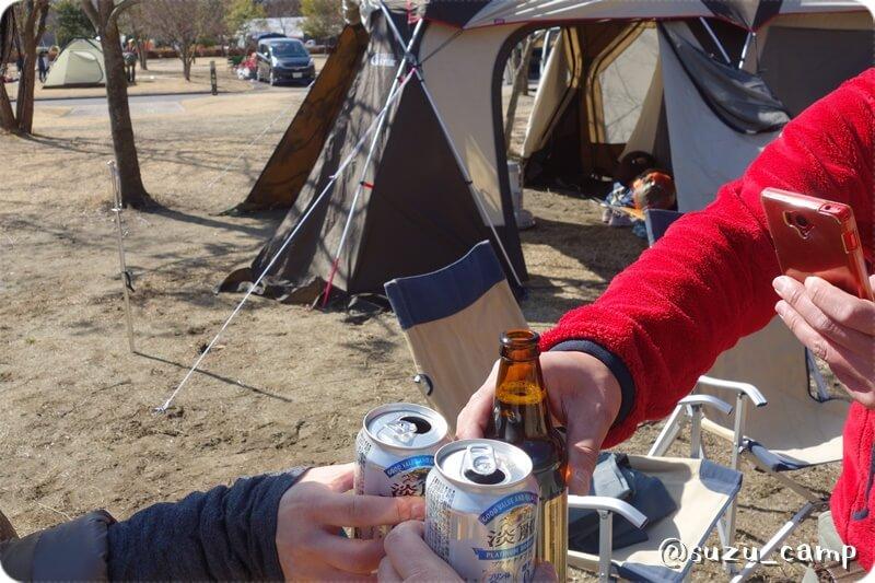 大子グリンヴィラ 越冬キャンプ2015 乾杯