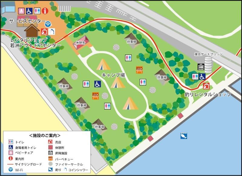 若洲公園キャンプ場全体図