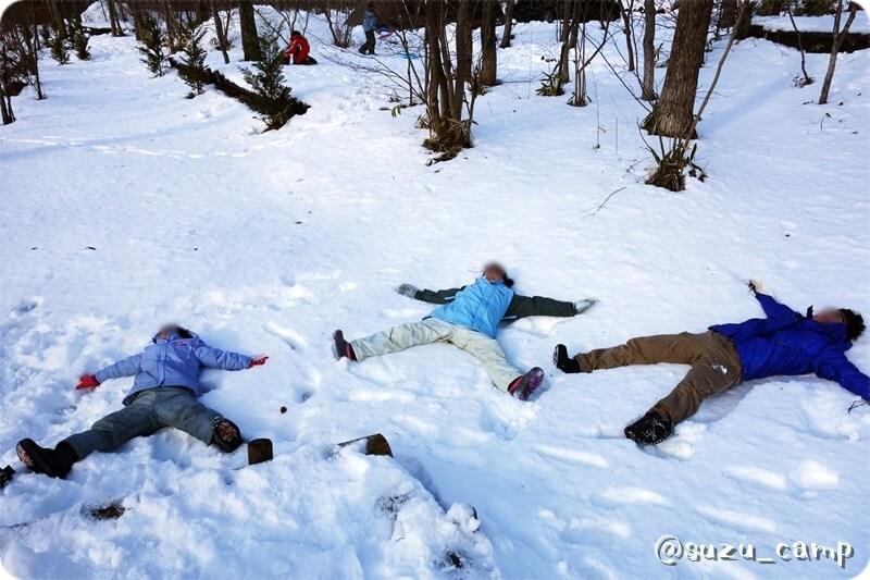 メープル那須高原キャンプグランド 雪にダイブ