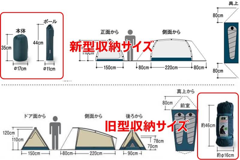 モンベル ムーンライトテント2型収納サイズ比較