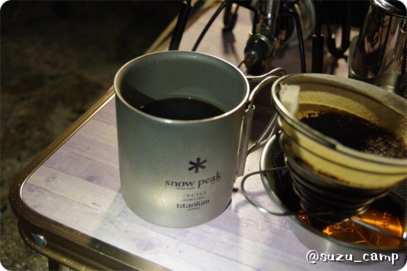 菖蒲ヶ浜キャンプ場 夜 コーヒー