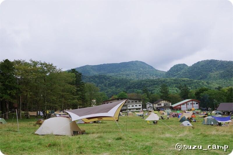 湯元キャンプ場 ムーンライト 小川張り