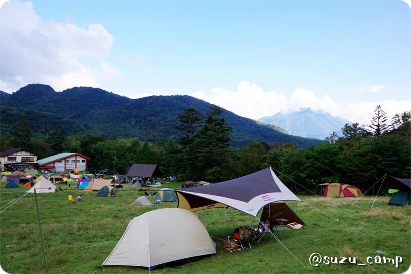 湯元キャンプ場 ムーンライトテント 小川張り