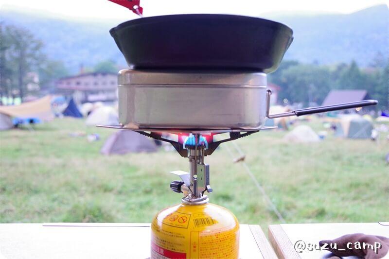 湯元キャンプ場 メスティン炊飯 バーナーパット