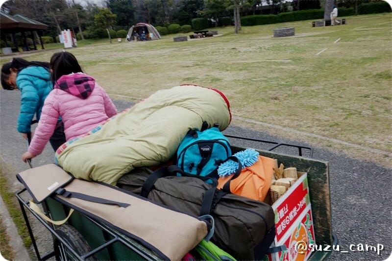 若洲公園キャンプ場 リヤカー