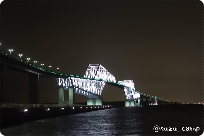東京ゲートブリッジ 若洲公園キャンプ場 夜景