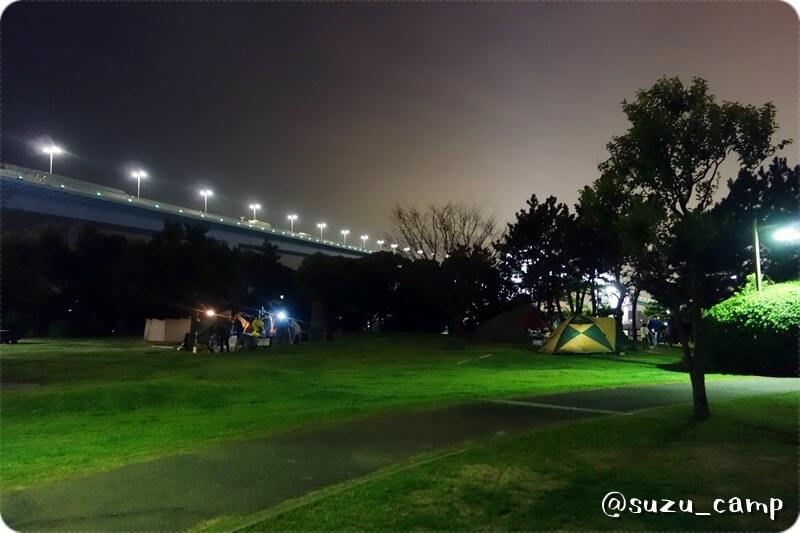 若洲公園キャンプ場 夜景