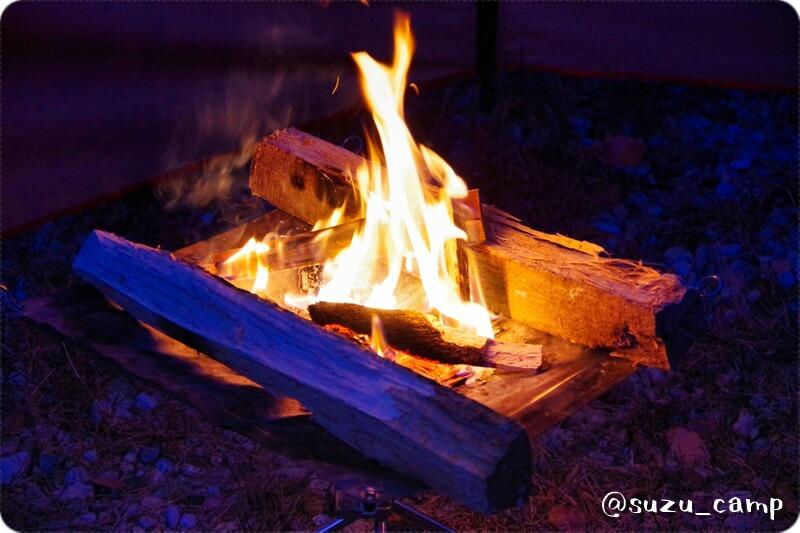 薬師の湯キャンプ場 焚火