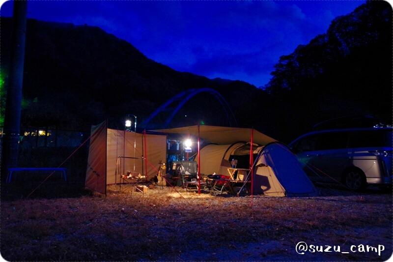 薬師の湯キャンプ場 1日目夜