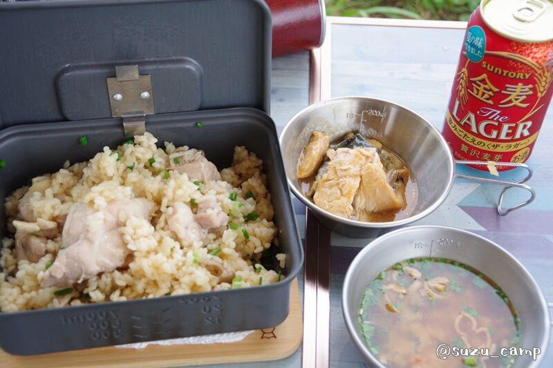 陣馬形山キャンプ場 炊き込みご飯 夕飯