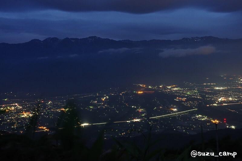 陣馬形山キャンプ場 夜景